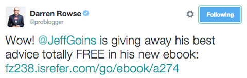 darren rowse tweet promoting jeff goins ebook