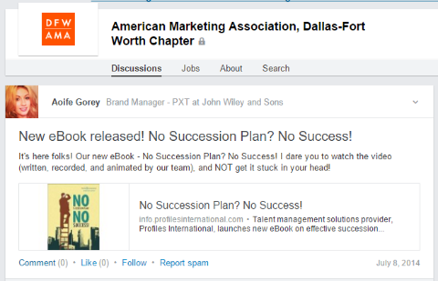 linkedin group ebook post