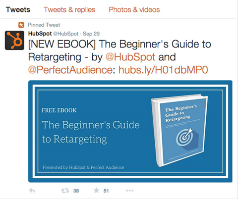 hubspot tweet promoting ebook