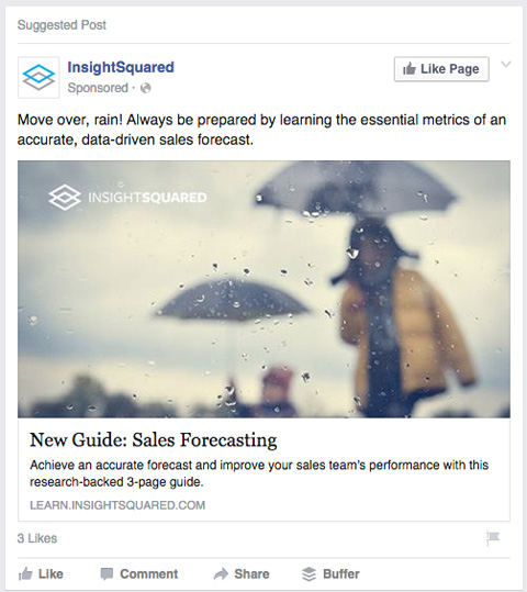 insightsquared facebook sponsored post