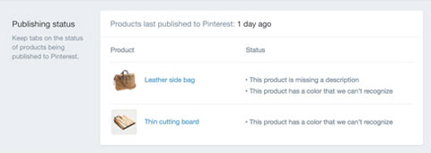 publishing status on pins in shopify