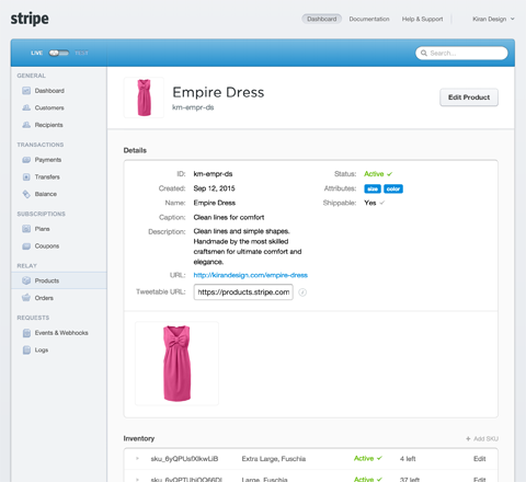 product details in stripe