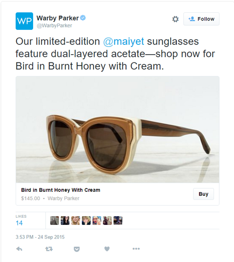 warbyparker tweet with buy button