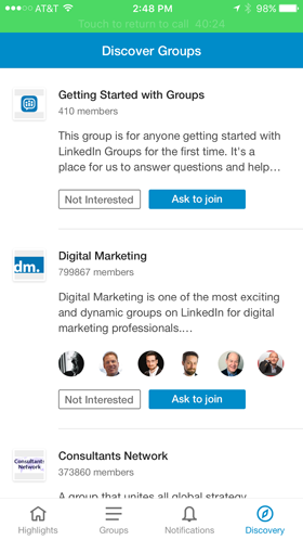 linkedin group discover app