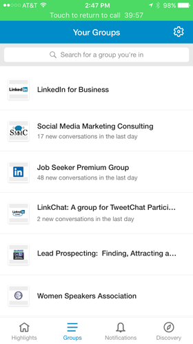 linkedin groups in app