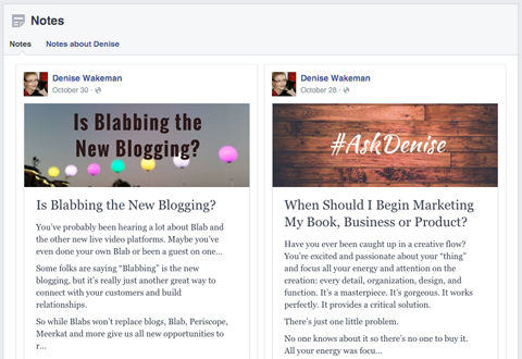 facebook notes examples