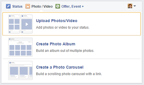 facebook image upload options