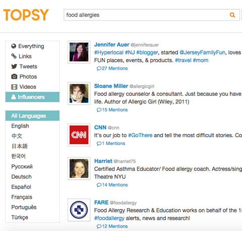 topsy influencer search