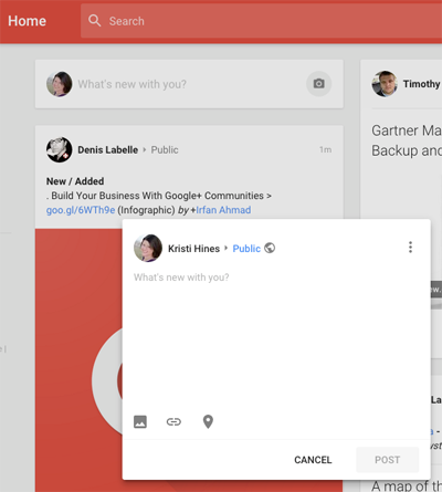 new google plus update box