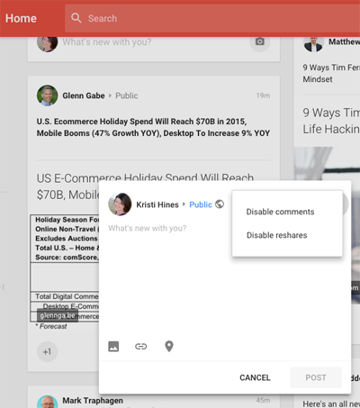 new google plus update comment and share options
