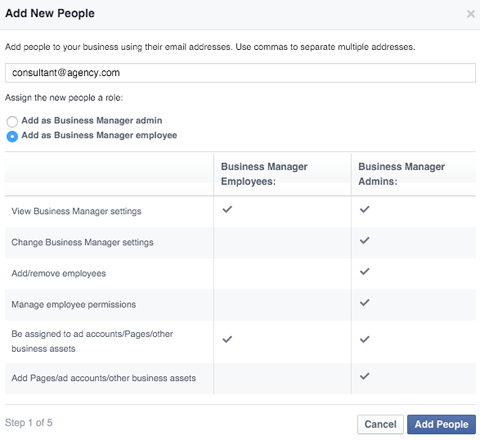 add new people in business manager