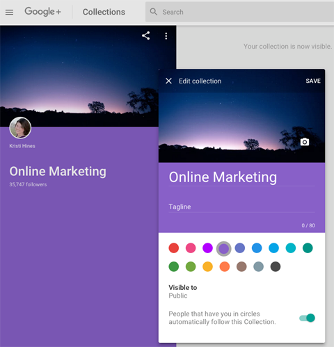 new google plus featured collections editing options