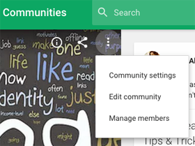 new google plus community settings