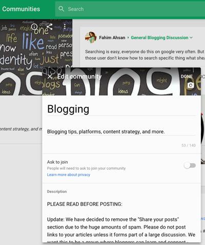 new google plus community edit settings
