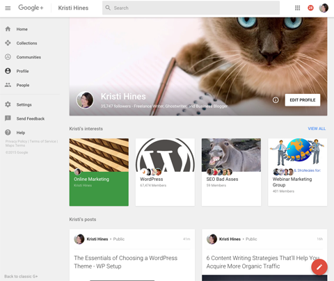 new google plus profile design