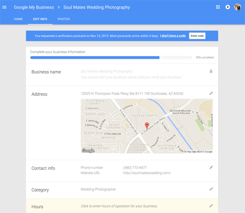 new google plus local business page edit options