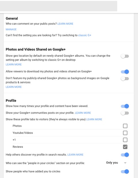 new google plus profile settings