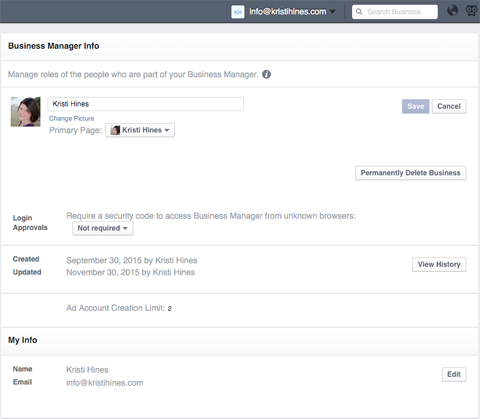business settings in business manager