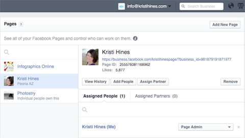view pages in business manager