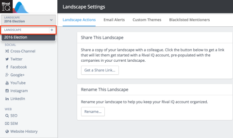 click the + button to add a new landscape