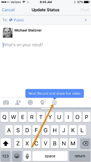 how to get live feed on facebook