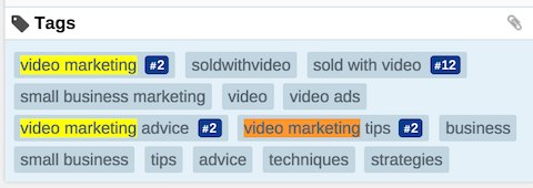 sold with video youtube keywords in tags