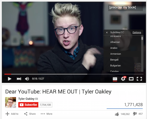tyler oakley video with subtitles
