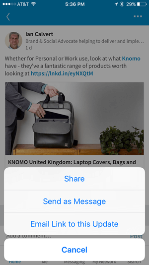 share someones update