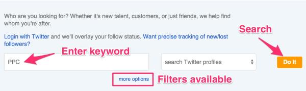 Schlüsselwörter in Twitter-Profilen suchen