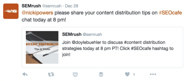 semrush chat invite