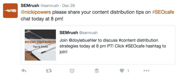 Semrush Chat einladen