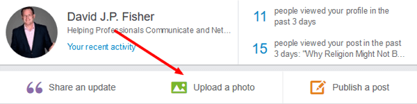 add a photo to a status update on linkedin