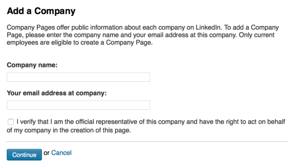 linkedin add company page