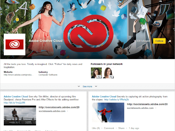 linkedin adobe creative showcase page