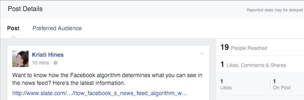 facebook audience optimization post details