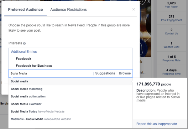 facebook audience optimization preferred audience interests