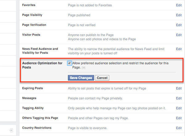 facebook audience optimization for posts settings on