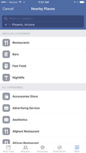 search location and category