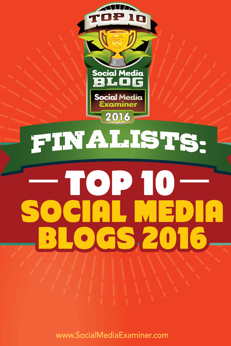 finalist 2016 top ten social media blog contest