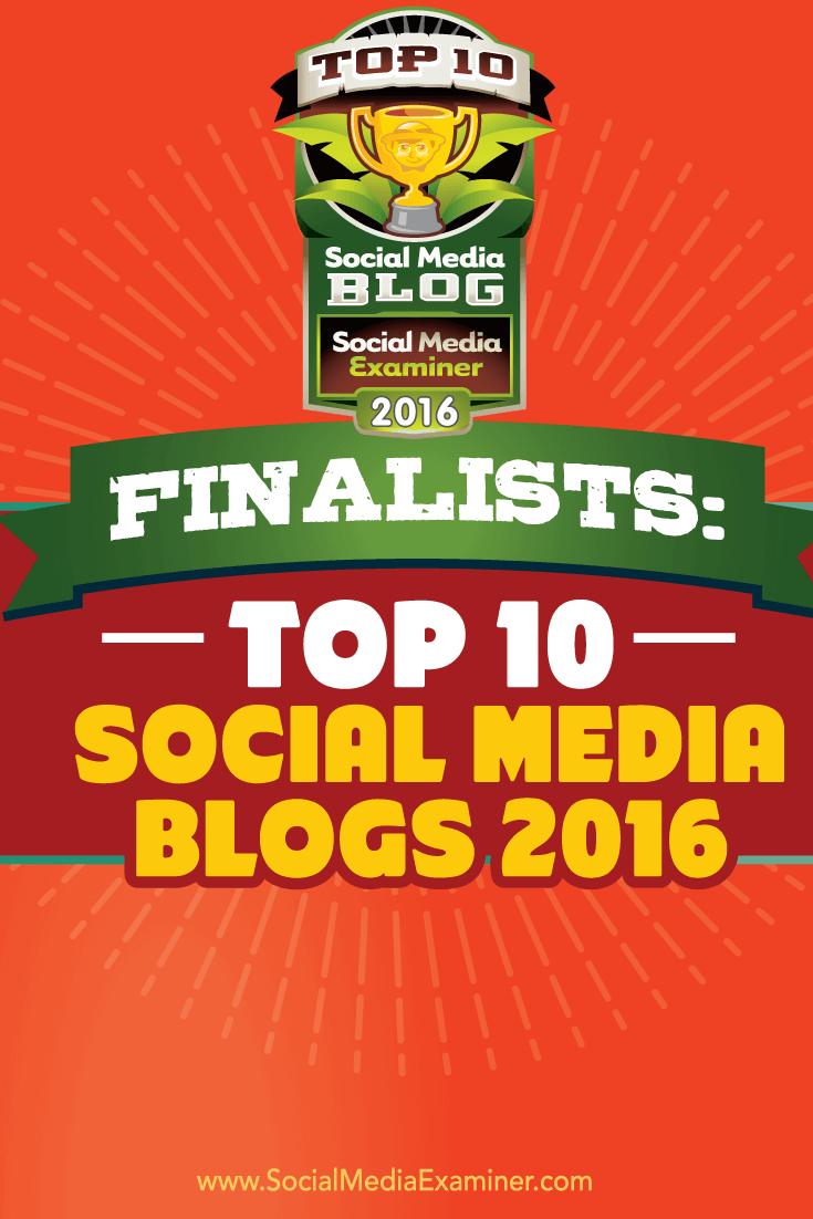 finalist 2016 top ten social media blog contest