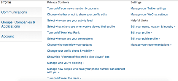 privacy and settings