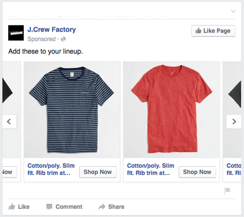 facebook dynamic product