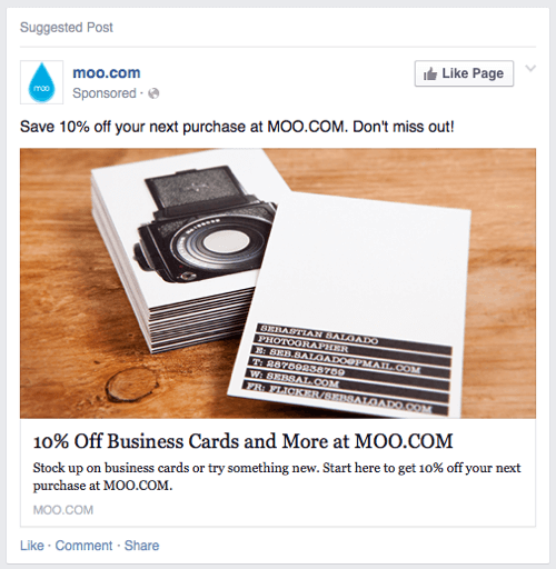 moo cards facebook ad example 2