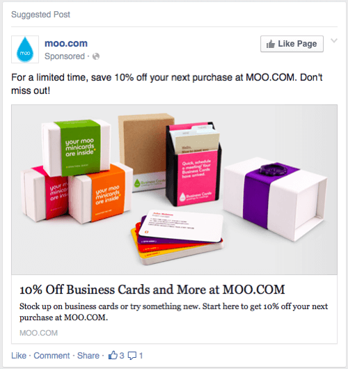 moo cards facebook ad example