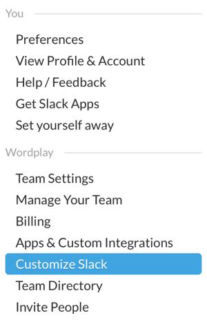 slack team menu