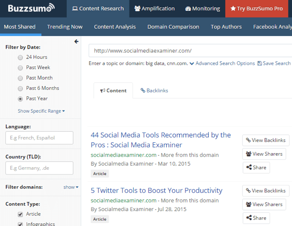 buzzsumo competitor search example