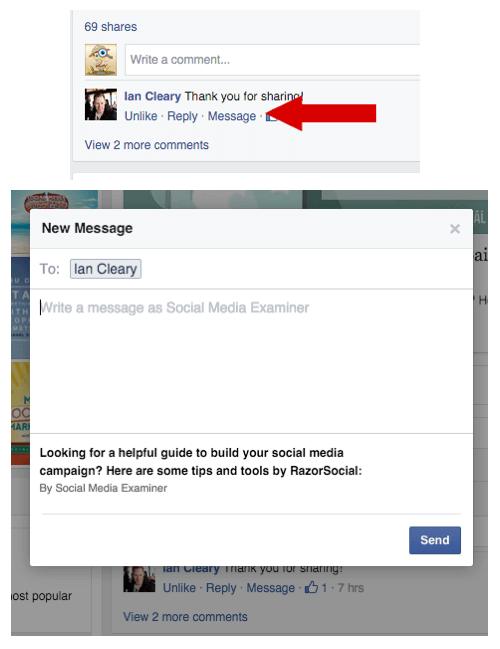 facebook private message replies