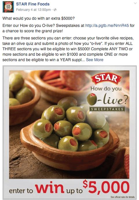 Star Oliven Facebook Wettbewerb Beitrag