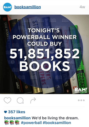 books a million instagram branding example