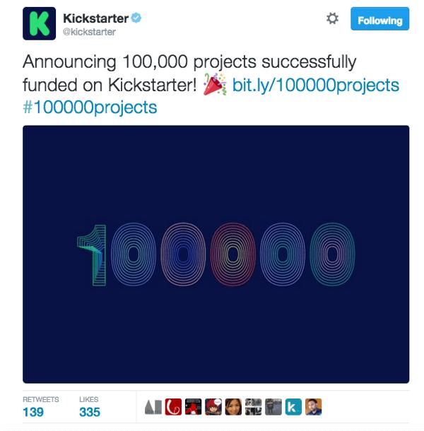 kickstarter twitter example
